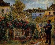 Pierre-Auguste Renoir Claude Monet Painting in His Garden at Argenteuil, oil painting picture wholesale